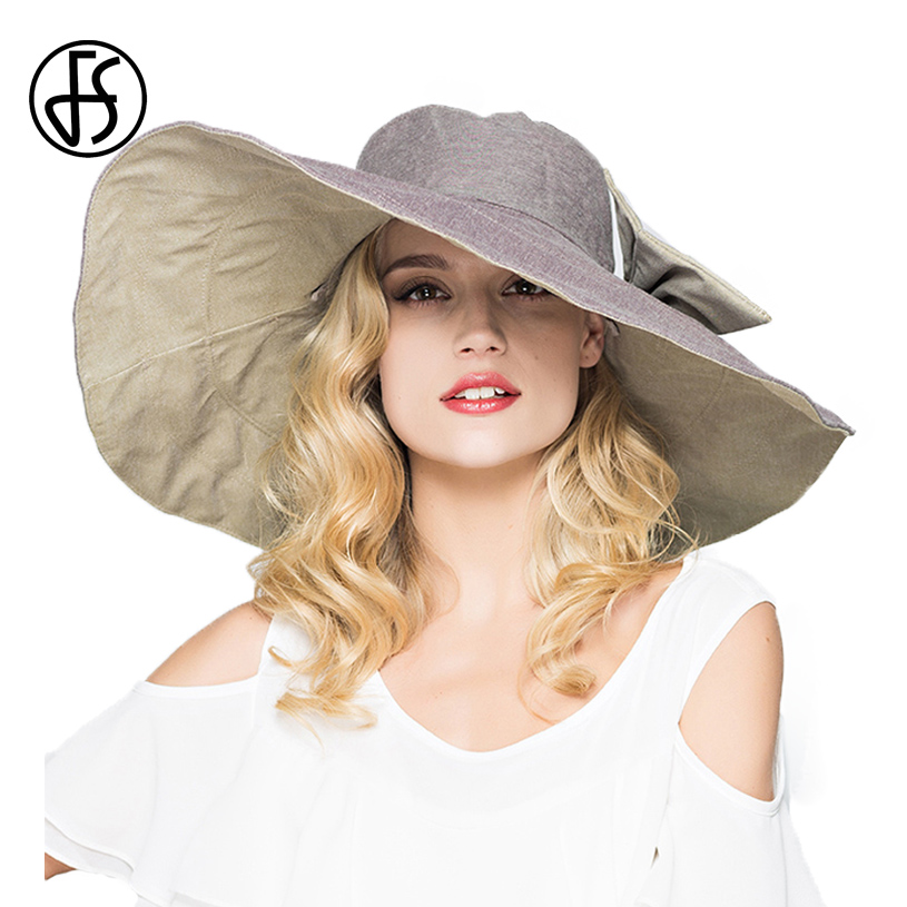 55ac436807ded FS Flodable Ladies Large Wide Brim Floppy Summer Sun Hats For Women With  Bowknot Gorras Beach Visor Caps Gray Pink Blue