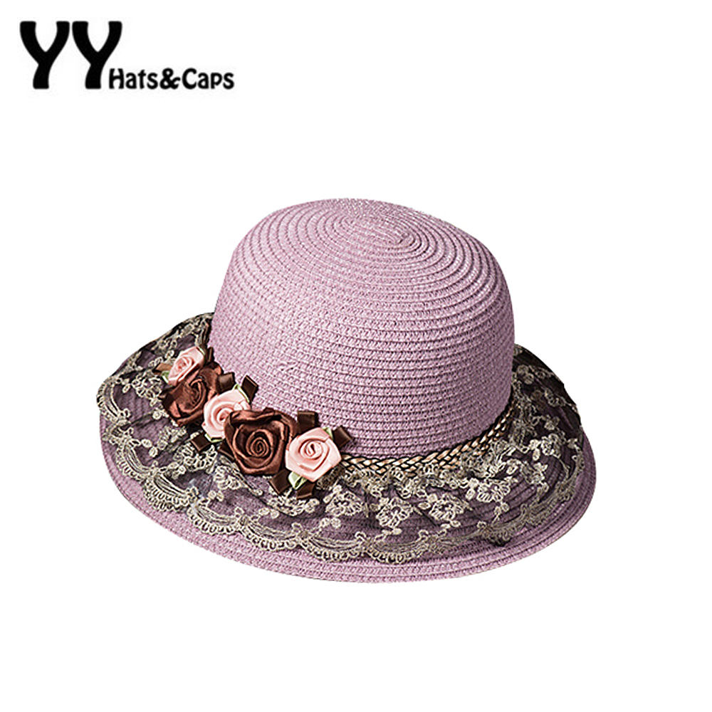 Elegant NEW Lace Straw Sun Hat for Women Tea Party Hat Ladies Flowers Lace  Beach Caps Sun Visor Hat Trilby Summer YY60168 2f53c37b1fe