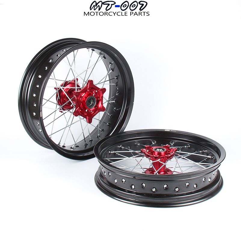 3.5/5.0*17 SUPERMOTO WHEELS RIMS SET FOR HONDA CRF250R 2004 2013 CRF450R 2002 2012 2011 2010 2009 2008 2007 2006 2005 RED HUB