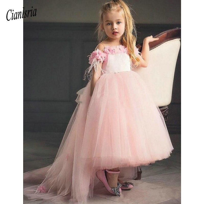 2019 New Coming   Flower     Girl     Dress   with 3D Floral Appliques Beading Feathers Cap Sleeves Open Back Custom Made For Elegant   Girls