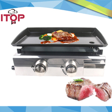 ITOP Gas Plancha BBQ – 2 Burner BBQ Grill – Stainless Steel & Enameled Cast Plate