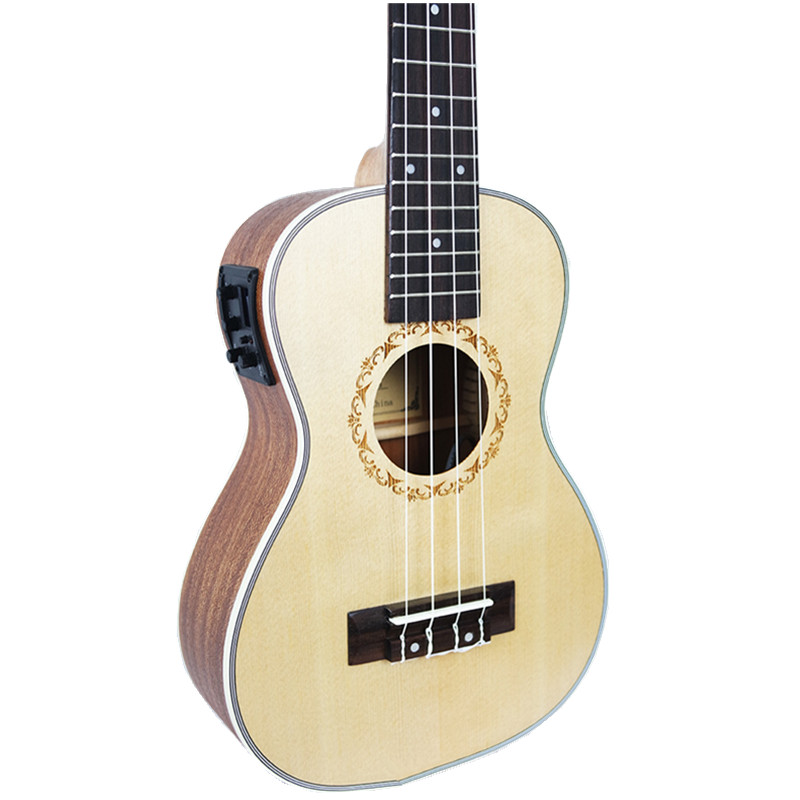 23 inch Ukulele Concert Acoustic Electric Mini Guitar Hawaiian 4 Strings guitar Ingman spruce panel Ukelele With pickup EQ 23ukulele concert mini hawai guitar mahogany body fishing bone pattern electric ukelele with pickup eq uku gitara