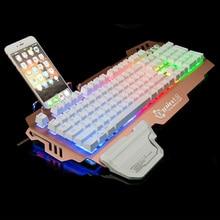 Professionelle Gaming-tastatur Ergonomie design Hyun welle taste Mit Hintergrundbeleuchtung mit Handyhalter 104 Schlüssel Wasserdicht für PC Laptop