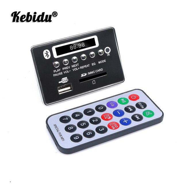 kebidu Car USB MP3 Player Integrated Bluetooth Hands free MP3 Decoder Board Module Remote Control USB FM Aux Radio for Car