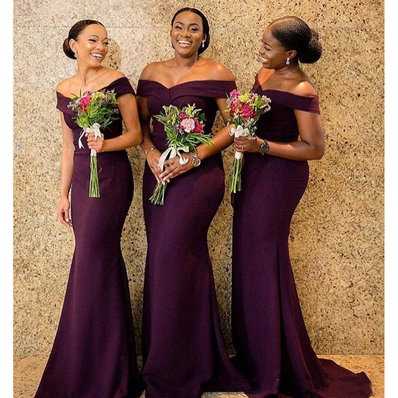 Vestido longo 2019 South African purple Bridesmaid Dresses Formal Wedding Party Guest Maid of Honor Gown