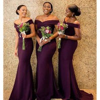 Vestido longo 2019 South African purple Bridesmaid Dresses Formal Wedding Party Guest Maid of Honor Gown Plus Size