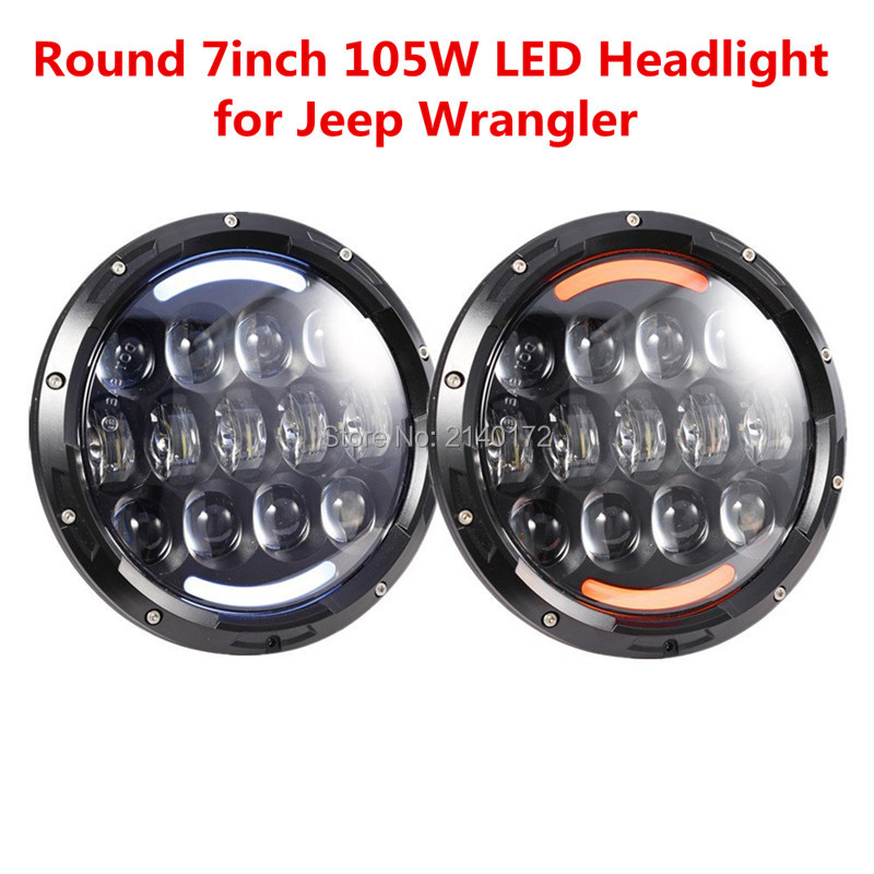 105W 7'' inch led headlight High/Low Dual Beam H4 led Head lamp for Jeep JK FJ Cruiser LandRover Harley Motorcycle 7 inch round 50w 7 led headlight h4 led head lamp for harley motorcycle for jeep wrangler 4x4 with white amber halo hi low beam