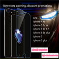 50 unids templado protector de pantalla de cristal para iphone 6 6 s 7 7 plus 5 5S 4 4S hd templado película protectora
