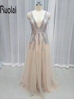 2017 Hot Sale Amazing Sexy Evening Dresses Deep V Neck Appliques Beading A Line Evening Gown Prom Dresses Backless Custom Made