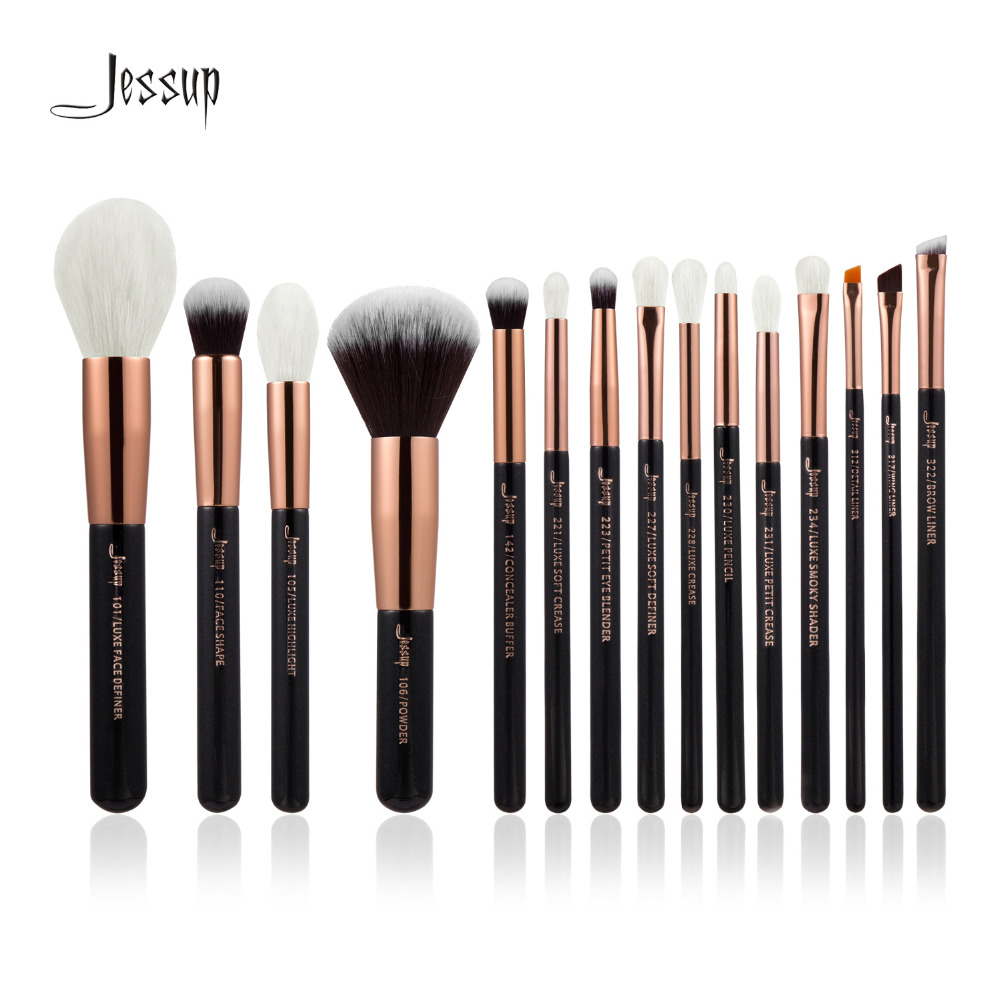 Jessup Brand Rose Gold/Black Professional Makeup Brushes Set Make up Brush Tools kit Foundation Powder natural-synthetic hair jessup 5pcs black gold makeup brushes sets high quality beauty kits kabuki foundation powder blush make up brush cosmetics tool