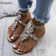 67a08e2d011 Vinapobo Ankle Strap Shoes Women Sandals Rhinestones Chains Flat plus size  Thong sandals gladiator sandals Gold Silver Black