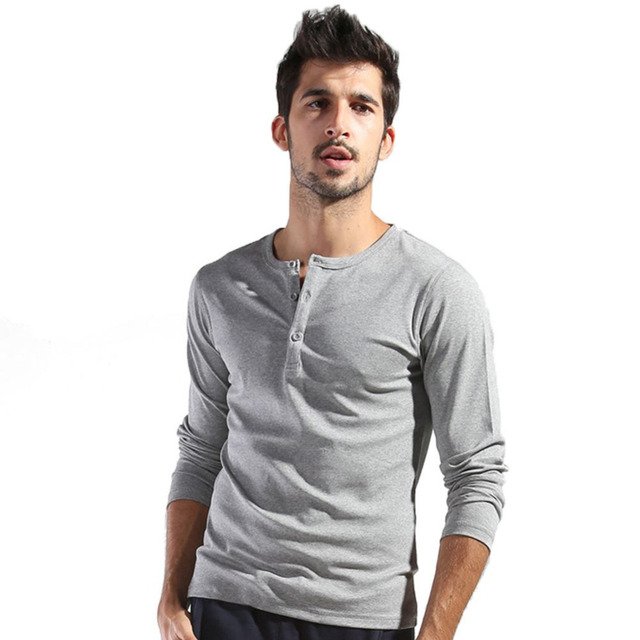 Autumn men 39 s basic tee long sleeve henley shirts slim cut for Men s thermal henley long sleeve shirts