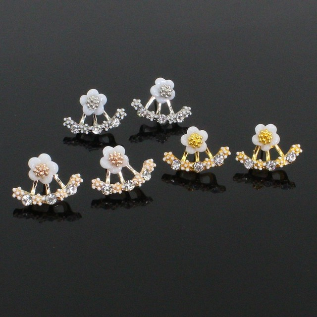 Flower Stud Rhinestone Detachable Daisy Shining Dangler Earrings