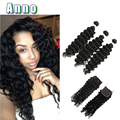 10A peruvian Deep Wave With Closure 3 bundles Hair Weave With  Lace Closure Cheap peruvian Virgin Human Hair weave bundles