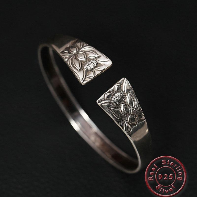 Amxiu Vintage grand Large bracelet ouvert 925 en argent Sterling fleur de Lotus bracelets pour femmes fête des mères cadeau bijoux en or Antique