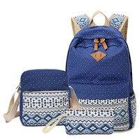 Sunborls 3Pcs/set Korean Canvas Printing Backpack Women School Bags for Teenage Girls Cute Bookbags Laptop Backpacks Female