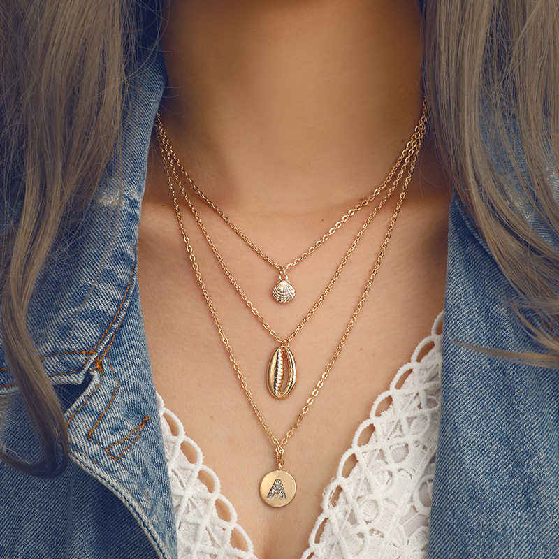 Fashion Bohemian Multilayer Ocean Seashell Beach Pendants Necklace Women Fashion Gold Color Beach Shell Chain Necklace Jewelry