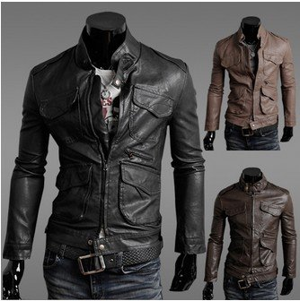 New arrived 2012 New Slim men's leather jackets, men leather motorcycle thick warm jacket Black,Brown,yellow Size:M-L-XL-XXLJK16