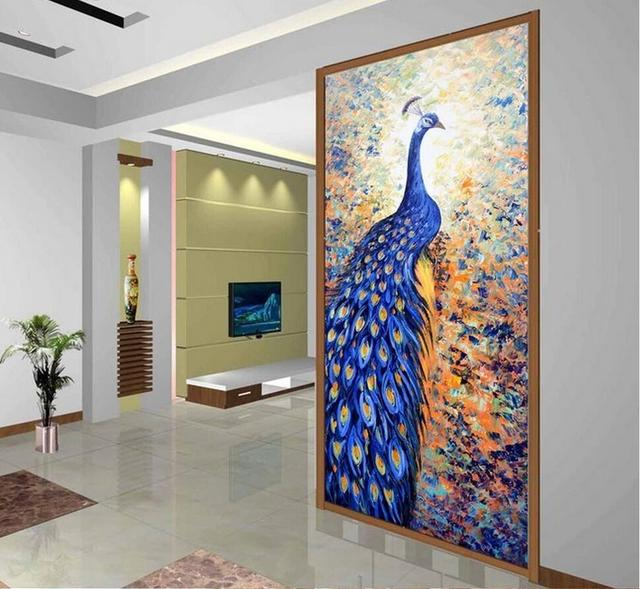 3D Blue Peacock Wall Mural Printed Photo Wallpaper For Living Room Hallway Wall  Decor Wall Papers