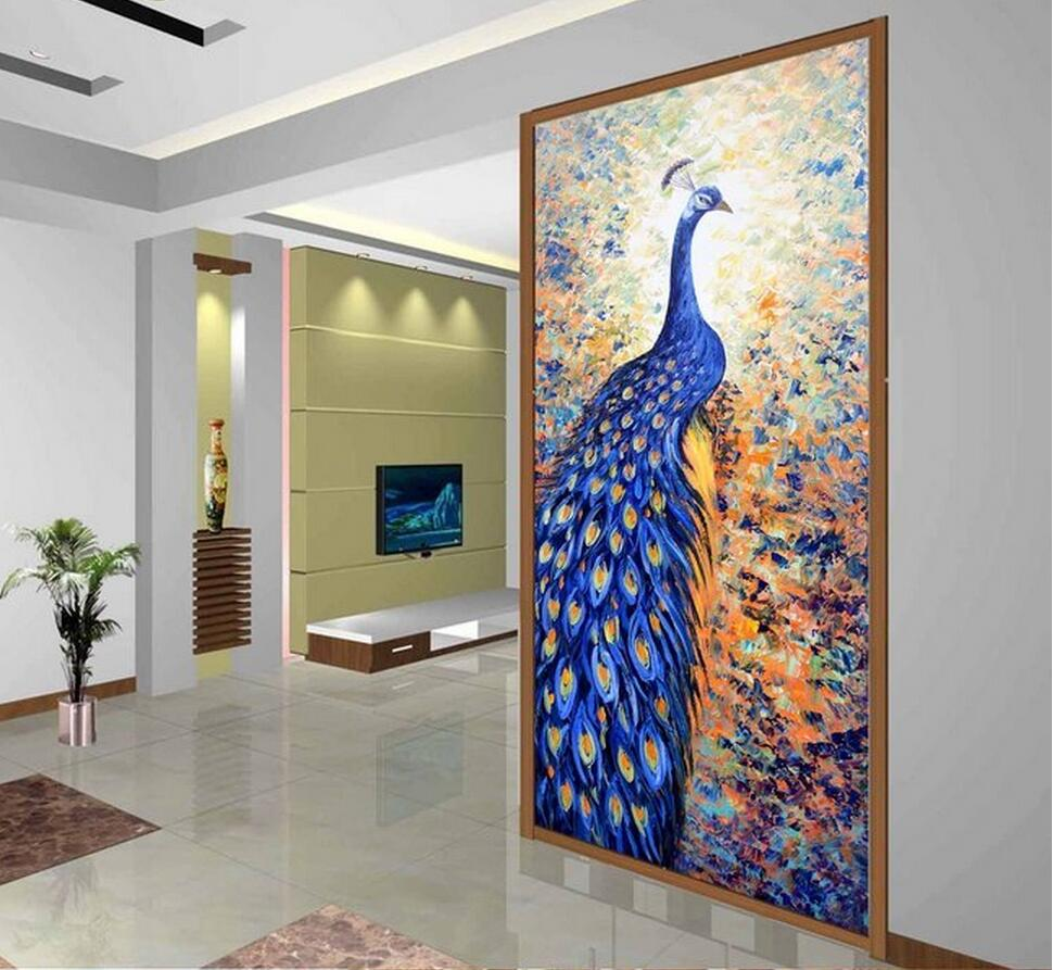 3D Blue Peacock Wandbild Gedruckt Foto Tapete für Wohnzimmer Flur ...