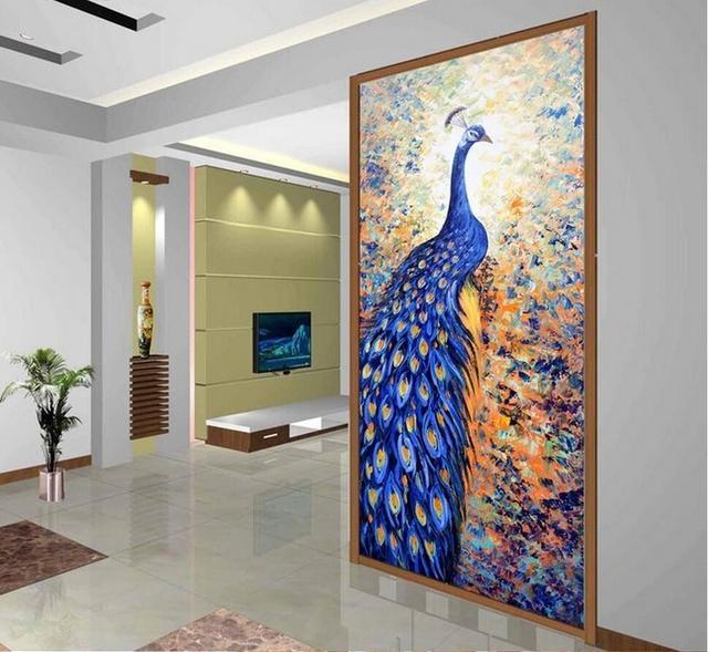 3d Blue Peacock Wandbild Gedruckt Foto Tapete Fur Wohnzimmer Flur