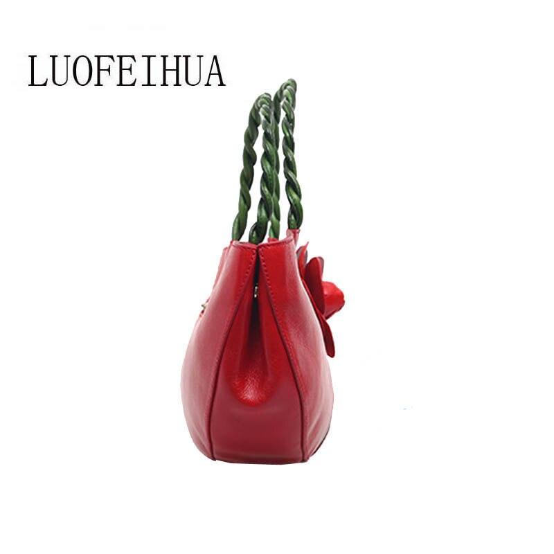 Ethnische Hand Handtasche Designer Blume 2019 Stil Black Reinem brown Erstellt red Luofeihua Neue Leder Retro Tasche 74WCCqSI