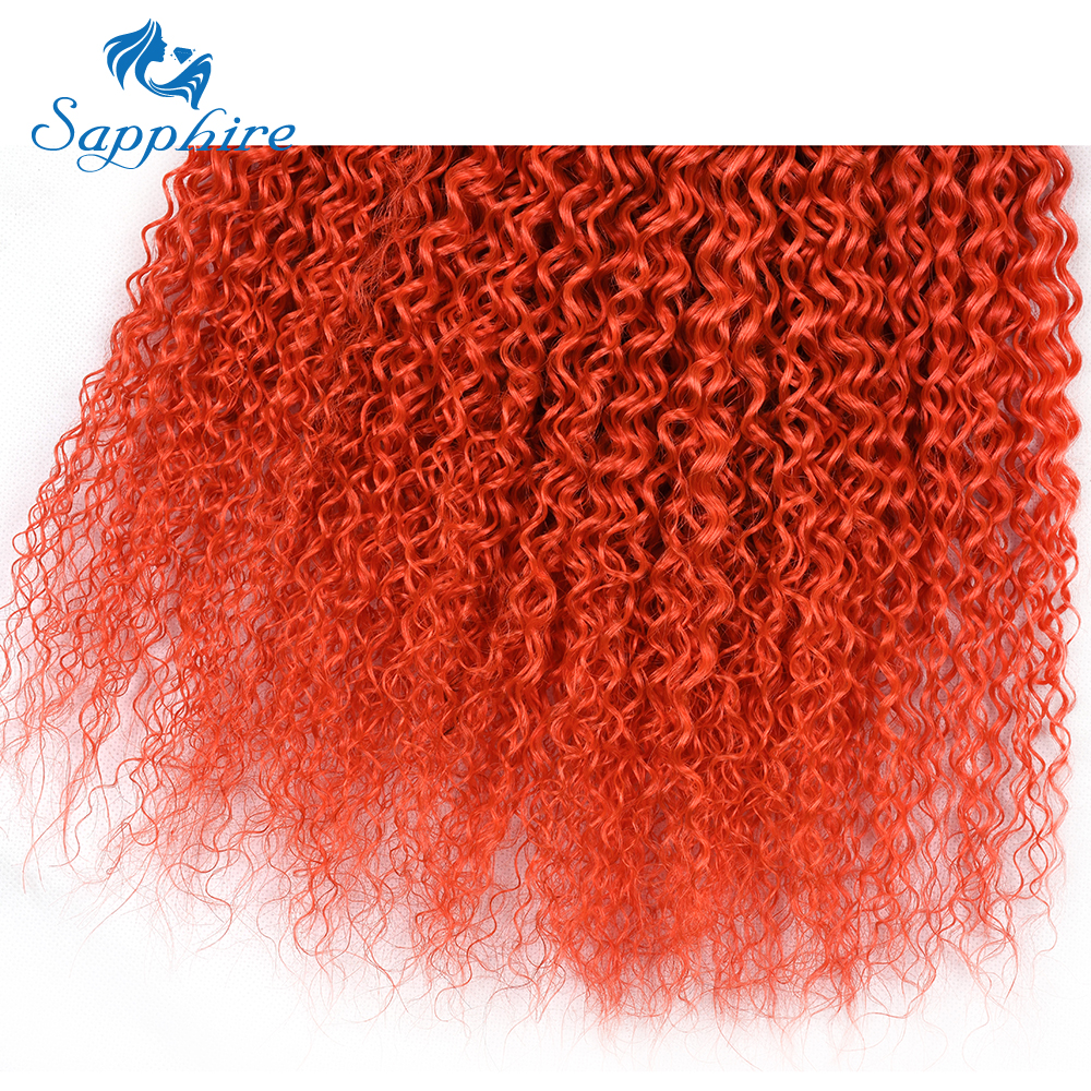 Sapphire 3 Bundles Brazilian Kinky Curly Hair Extensions Orange Human Hair Weav Kinky Curly Pre-Colored Human Hair Bundles