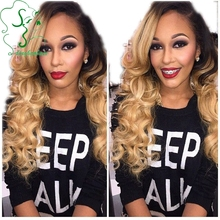 Long Body Wave 7A Virgin Brazilian Full Lace Wig Human Hair, Ombre Lace Front Wig Two Tone Color 1b#T613# With Bangs For Women