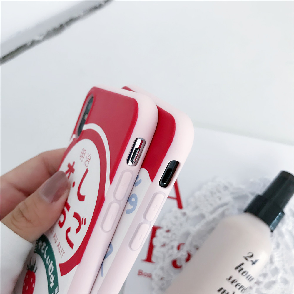 YUANLAM Strawberry Milk Case For iphone X 8 8plus 6 6S Plus 7 7 Phone Cases Soft