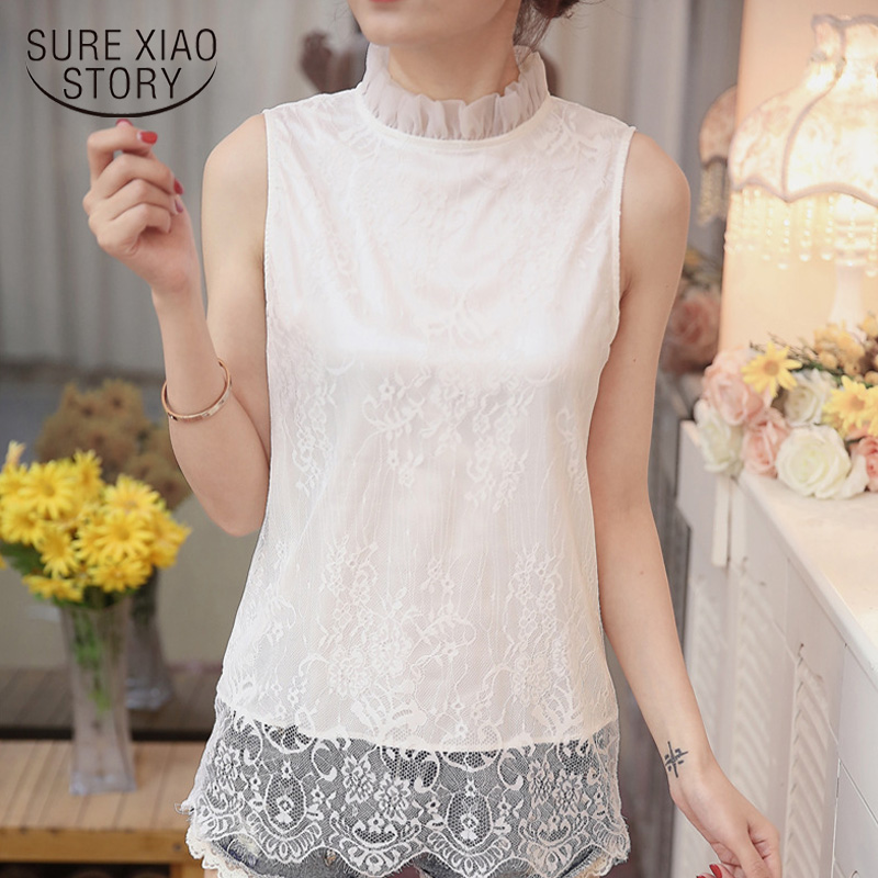 Women Clothing Lace White Shirt 2019 Summer New Fashion Women Blouse Casual Sleeveless Loose Hollow Out Top Blusas  0123 30