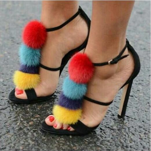 Drop Shipping 2017 Summer Luxury Women Colorful Fur Balls Open Toe Party High Heel Dress Sandals Pom Pom Sandals Lady colorful pom pom trim slub tee
