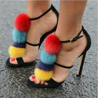 Drop Shipping 2017 Summer Luxury Women Colorful Fur Balls Open Toe Party High Heel Dress Sandals Pom Pom Sandals Lady