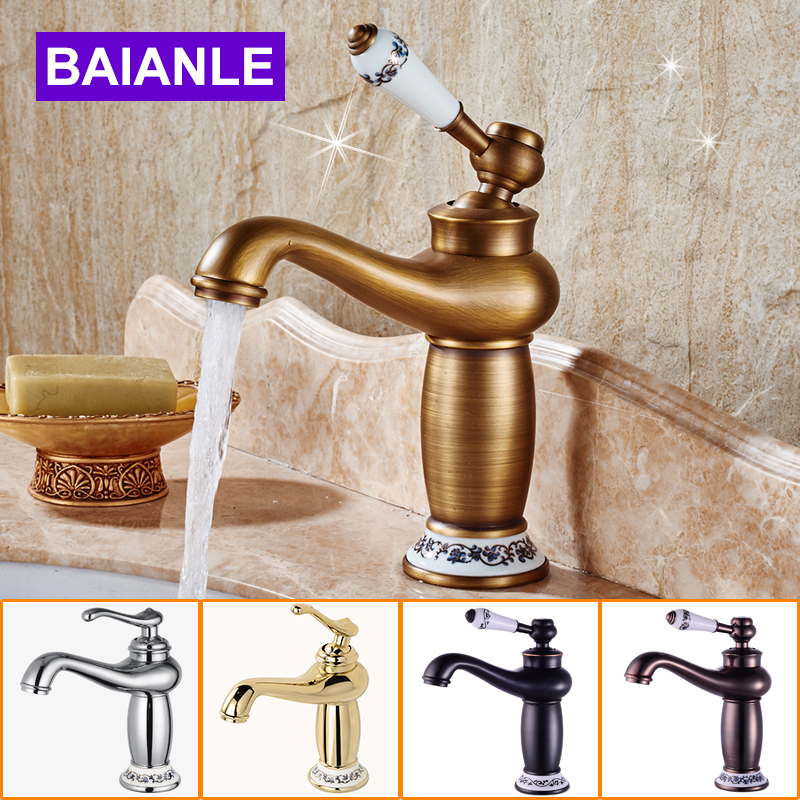 Hot Sale Bathroom Basin Faucet Antique Bronze Brass Mixer Tap With Ceramic Sink Faucet Bath