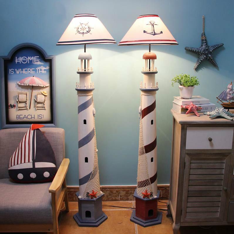 Mediterranean Lighthouse Floor Lamp Retro Ocean Standing Lamp Living Room Bedroom Floor Light Children Room Home Decor Fixtures