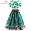 Sishion new print listrado e 50 s 60 s retro vintage dress s-4xl plus size manga curta amarelo azul verde mulheres summer dress 0446