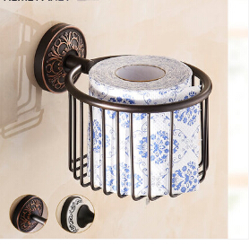 Wall Mounted Antique Black Oil Finish Bathroom Accessories Toilet Paper Holder bathroom sets toilet paper roll holder luxury bathroom toilet paper holder copper antique toilet paper rolls bathroom paper storage basket bathroom accessories