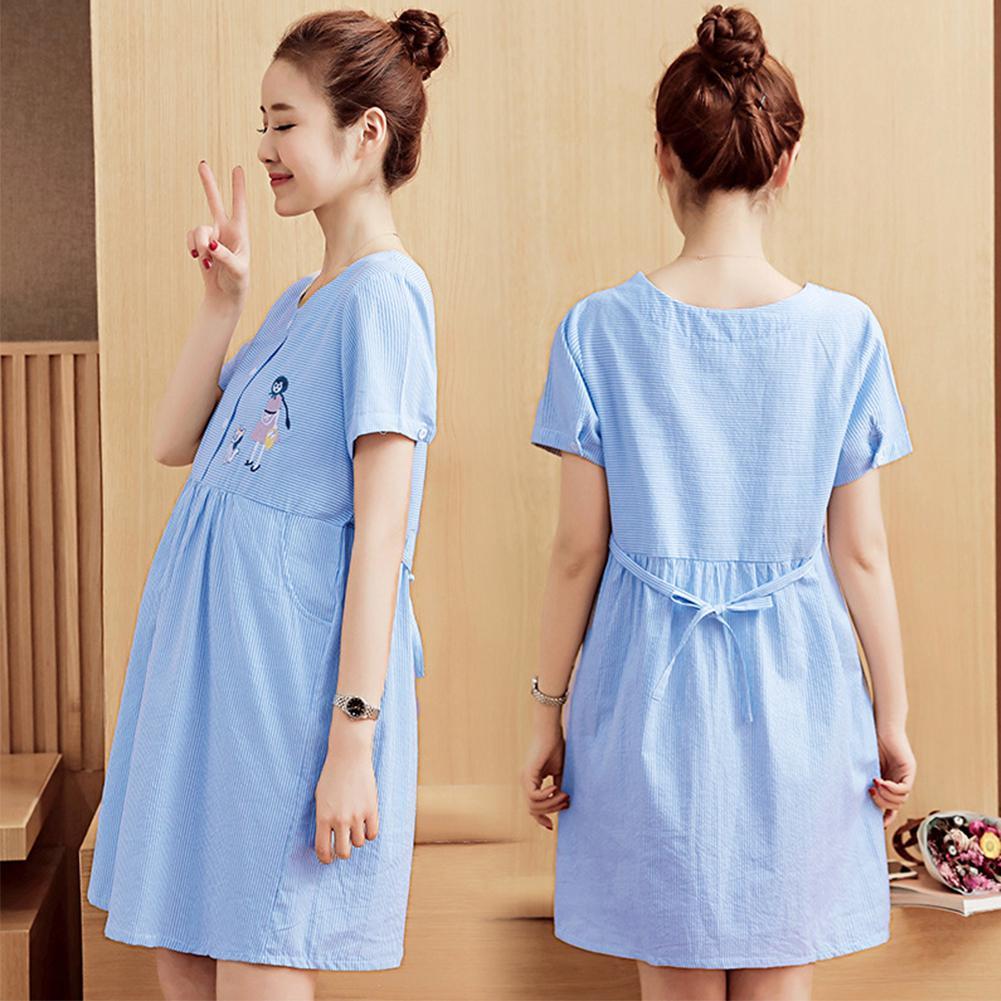 Women Summer Maternity Dress Cotton Short sleeve Mid length Dress in Dresses from Mother Kids