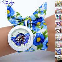 Shsby floral chiffon sweet girls watch fabric women dress watches fashion Ladies flower cloth wristwatch 10 watches wholesale