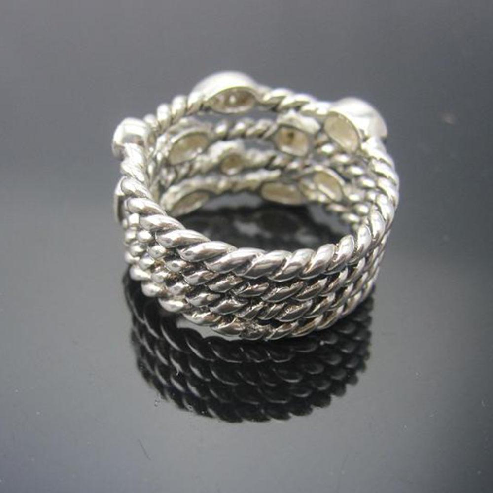 Bijoux en argent Sterling massif pavé de diamants à quatre rangées de confettis bague de glace Design marque bijoux en argent Wormen RingThanksgiving cadeaux - 3