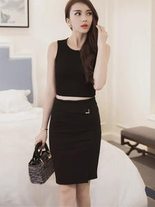 ATDYSPM Office Skirt Formal Women Bottoming Black High-Waist Stretch Step Slim Career