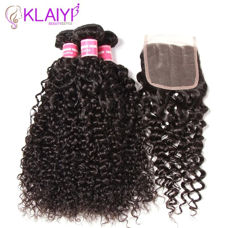 Klaiyi perujski lasje snopov z zaprtjem kodrasti lasje 3 svežnji - Človeški lasje (za črne)