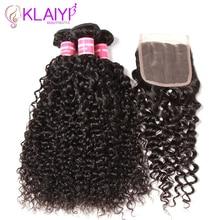Klaiyi Peru matu paketes ar slēgtajiem cirtainiem matiem 3 paketes Remy matu aust 4 gab / partijas cilvēka matu paketes ar slēgšanu