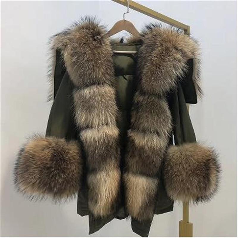 2019 Fashion New Winter Jacket Women Real Fur Coat Big Natural Raccoon Fur Collar Long Parka White Duck Down Jacket