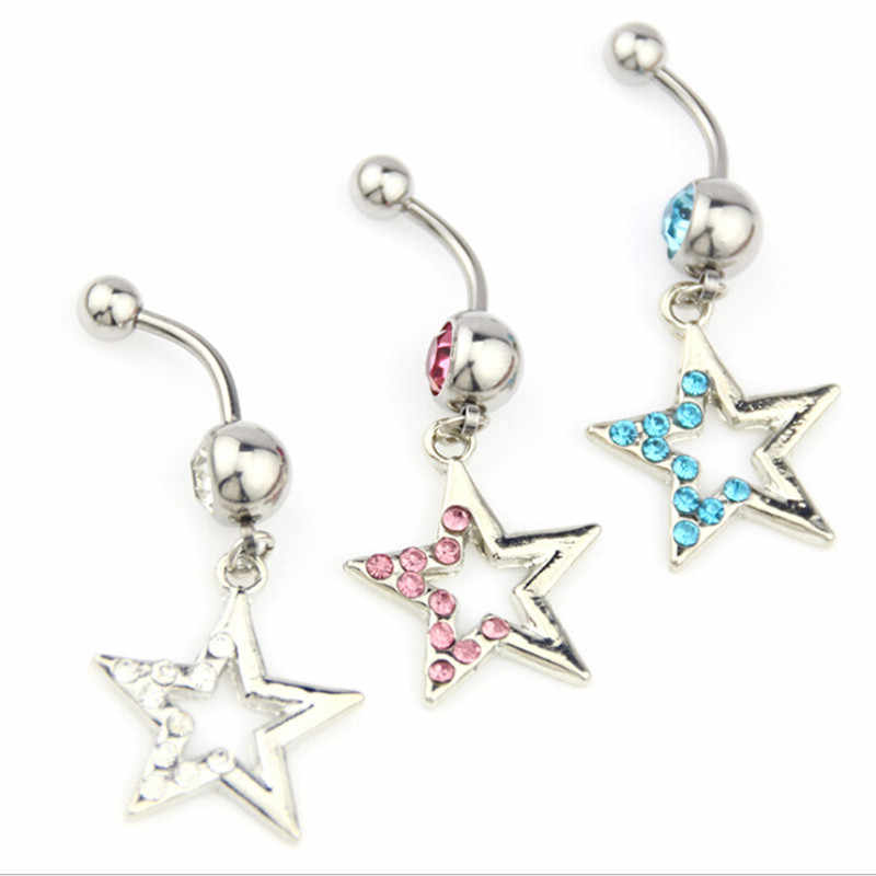 Surgical Steel Cute Star Dangle Navel Rings Double Crystal Navel Bars Gold Silver Color Belly Button Ring Body Piercing Jewelry
