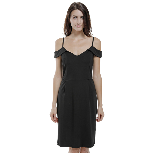 085140023ee Elegant Black Cold Shoulder Dress Sexy Deep V neck Spaghetti Strap Dress  Wedding Party Evening Pencil Bodycon Dresses