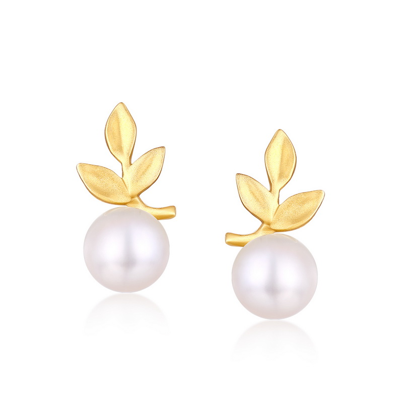 JXXGS Jewelry 14K Gold Leaf Fashion Stud Earrings Fresh Water Pearl Earrings For Women