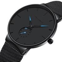 Мужские спортивные часы лучший бренд класса люкс ультра тонкие повседневные водонепроницаемые спортивные часы Кварцевые полностью стальн...
