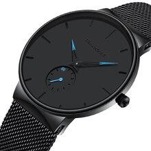 Relógios esportivos masculinos luxo ultra fino casual à prova dquartz água esporte relógio de quartzo relógio de aço completo para homem zegarek meski reloj hombre