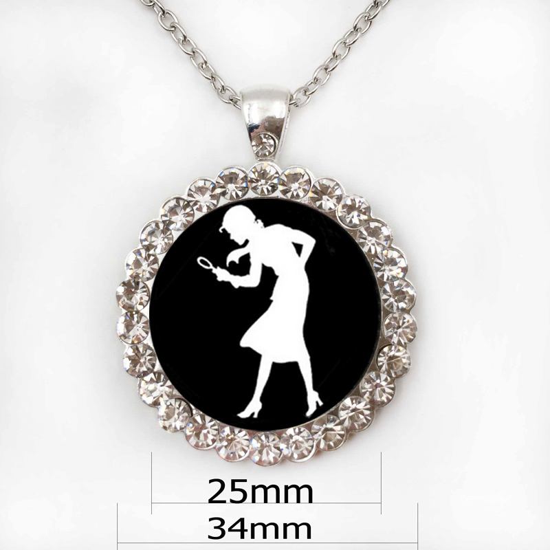 Nancy Drew necklace Girl Detective, Mystery Book Jewelry, Black and White Art necklace White print glass necklace