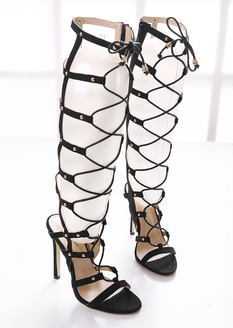 ФОТО Women Valentine Shoes Summer knee high Cool Boots  Suede hollow Cross straps Gladiator High Heels Sandals woman